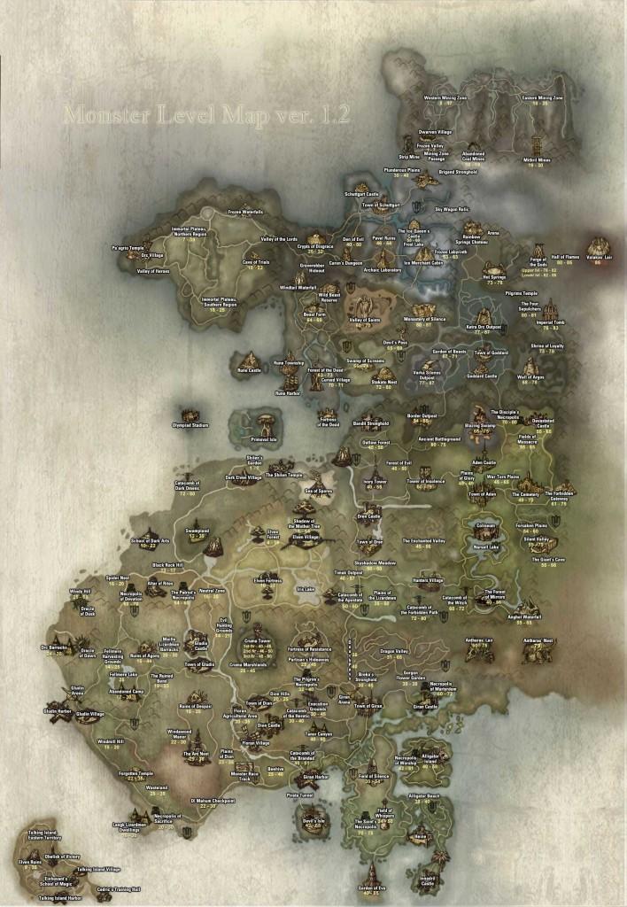 Уровень мобов на карте Lineage 2